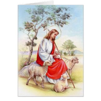 Vintage religioso Pascua, Jesús el pastor Tarjeta