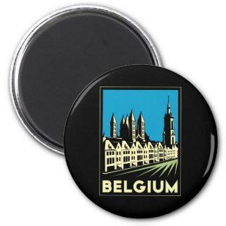 vintage retro del viaje del art déco de Bélgica Eu Imán Redondo 5 Cm