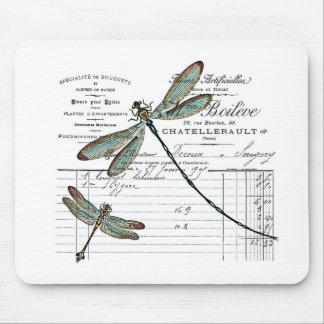 Vintage, Retro diseño Francia - libélula, insecto Alfombrilla De Ratón
