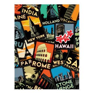Vintage retro Europa Asia los E.E.U.U. de los Postal