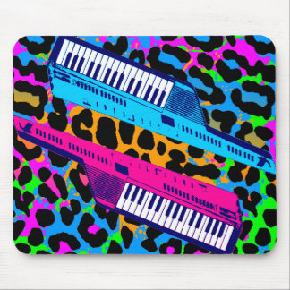 Vintage retro Mousepad del tigre 80s Keytar de Cor Alfombrillas De Ratones