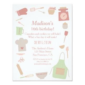 Vintage retro que cocina a la fiesta de cumpleaños invitación 10,8 x 13,9 cm
