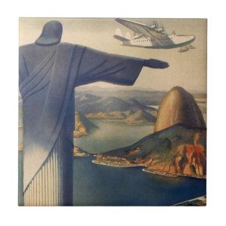 Vintage Río de Janeiro, Cristo la estatua del rede Azulejo Ceramica