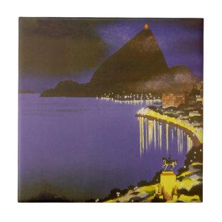 Vintage Río de Janeiro, el Brasil en la noche Azulejo Cuadrado Pequeño