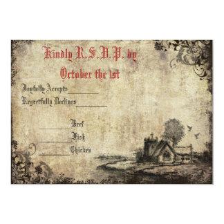 Vintage rojo de la iglesia del vintage que casa la invitación 12,7 x 17,8 cm