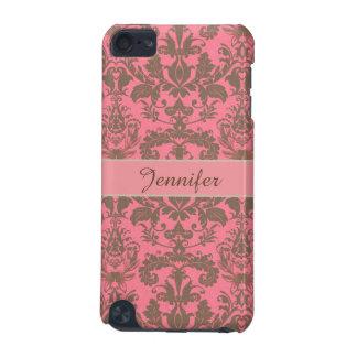 Vintage, rojo de la violeta pálida y nombre marrón carcasa para iPod touch 5
