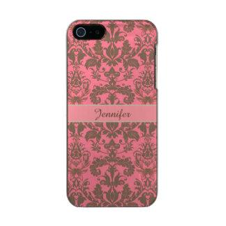 Vintage, rojo de la violeta pálida y nombre marrón funda para iPhone 5 incipio feather shine