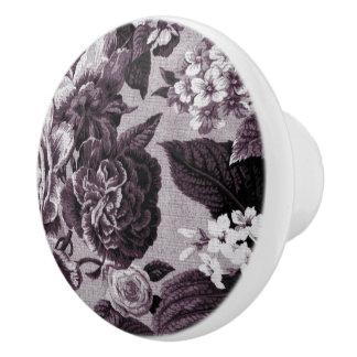 Vintage rojo Toile floral No.1 de Burdeos Pomo De Cerámica
