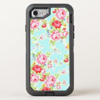 Vintage rosado azul subió funda OtterBox defender para iPhone 7