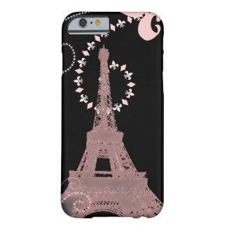vintage rosado elegante femenino de París de la Funda De iPhone 6 Barely There