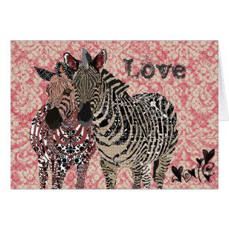 Vintage rosado Zenya y tarjeta del día de San