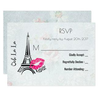 Vintage RSVP de la torre Eiffel de París del La Invitación 8,9 X 12,7 Cm