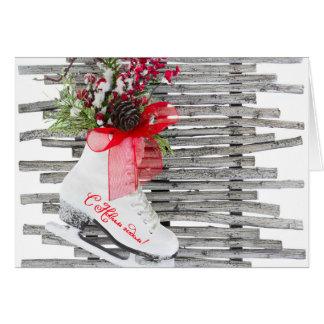 Vintage ruso de los zapatos de los patines de tarjeta de felicitación