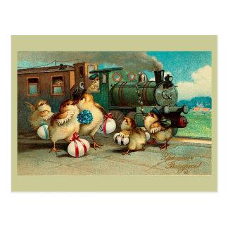 Vintage ruso Pascua con el tren Postal
