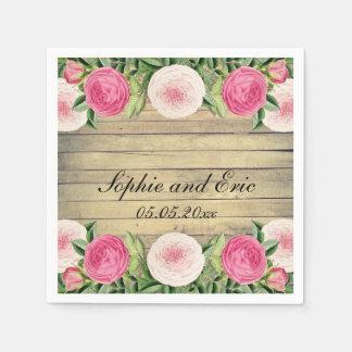 Vintage rústico floral subió casando las servilleta de papel