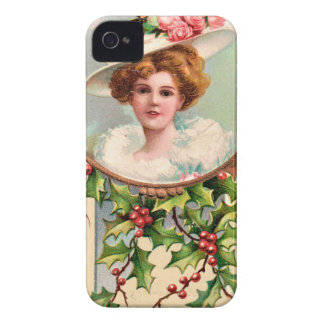vintage-santa-christmas-post-cards-0019 funda para iPhone 4 de Case-Mate