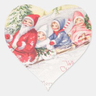vintage-santa-christmas-post-cards-0390 pegatina en forma de corazón