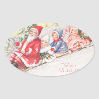 vintage-santa-christmas-post-cards-0390 pegatina ovalada