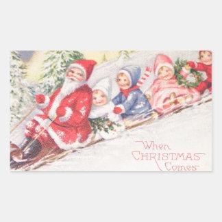 vintage-santa-christmas-post-cards-0390 pegatina rectangular