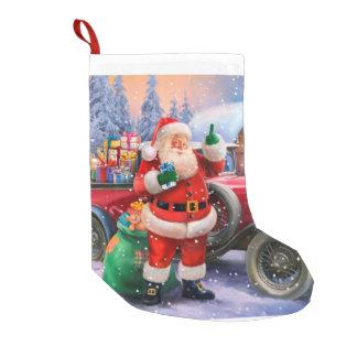Vintage Santa con el coche clásico Calcetín De Navidad Pequeño