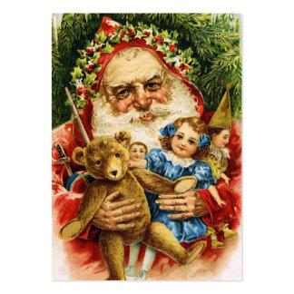 Vintage Santa con el peluche y las muñecas Tarjeta Personal