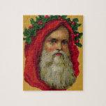 Vintage Santa con la guirnalda Rompecabezas