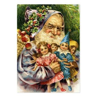 Vintage Santa con las muñecas Tarjetas De Visita Grandes
