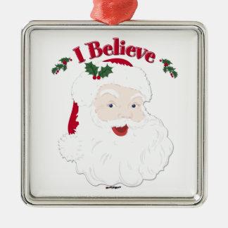Vintage Santa creo navidad Adorno Navideño Cuadrado De Metal