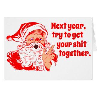 Vintage Santa el próximo año Tarjeton
