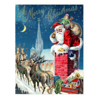 Vintage Santa en el navidad Postal