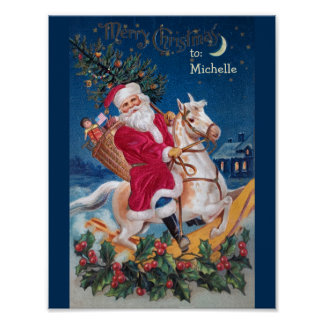 Vintage Santa en el poster del valor del caballo Póster