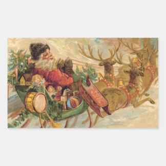 Vintage Santa en su trineo del reno Pegatina Rectangular