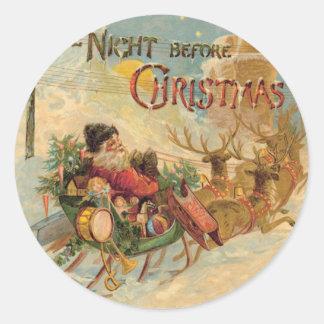 Vintage Santa en su trineo del reno Pegatina Redonda