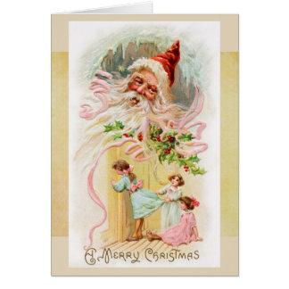 Vintage Santa en tarjeta de la mañana de navidad