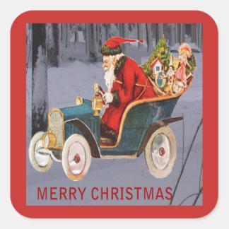 Vintage Santa que conduce, pegatina moderno de la