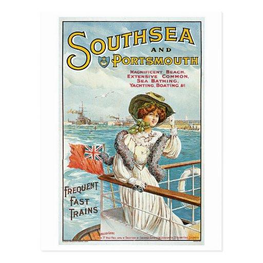 Vintage Southsea, anuncio del viaje de Portsmouth Postal