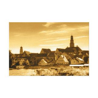 Vintage Stadtansicht de Lauingen (Danubio) Impresión En Lienzo