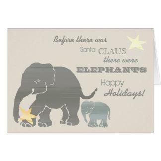 Vintage tipográfico de los elefantes del navidad tarjeta de felicitación