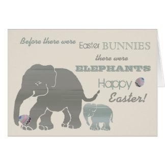 Vintage tipográfico del lema de los elefantes tarjeta de felicitación