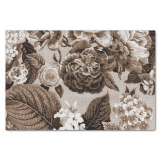Vintage Toile floral No.1 de Brown del tono de la Papel De Seda