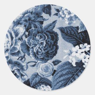 Vintage Toile floral No.1 de los azules añiles Pegatina Redonda