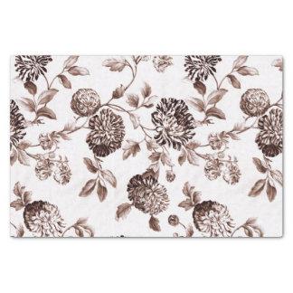 Vintage Toile floral No.2 de Brown de la sepia Papel De Seda