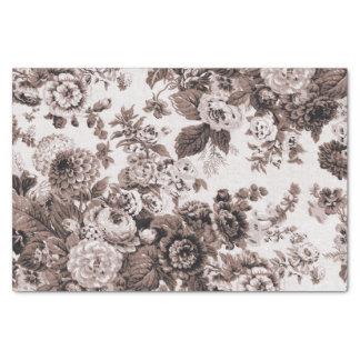Vintage Toile floral No.3 de Brown del tono de la Papel De Seda