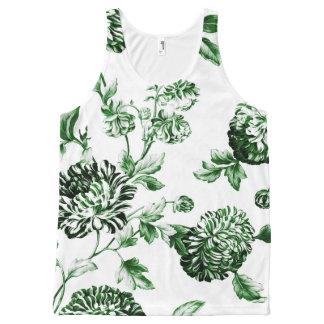 Vintage verde Toile floral botánico No2 de la hoja Camiseta De Tirantes Con Estampado Integral