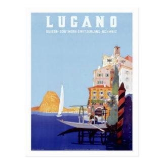 Vintage viaje de Lugano, Suiza Postal