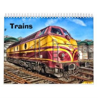 Vintage y calendario moderno de los trenes