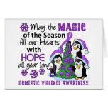 Violencia en el hogar de los pingüinos del navidad tarjetas