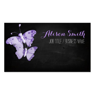 Violet Butterflies on black chalkboard Tarjetas De Visita