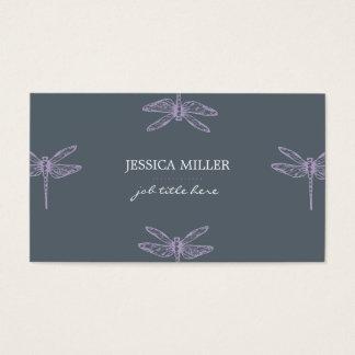 Violet dragonflies insects vintage indie cute card tarjeta de negocios