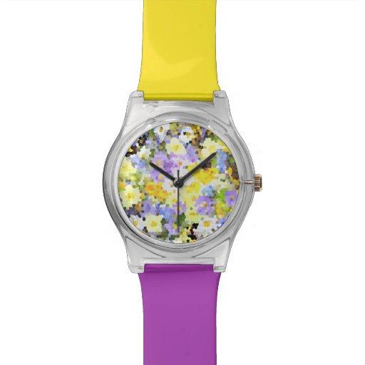 Violeta abstracta del amarillo de la flor de la pr reloj